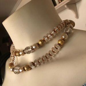 Vintage ITALIAN Glass Crystal Bead Necklace